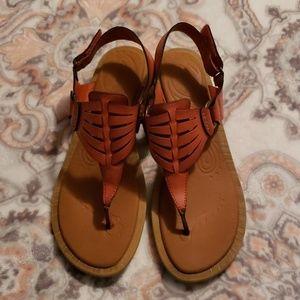 Orange leather sandals 8.5